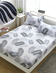 cheap -Leaf Feather 1PC Soft Printed Fitted Sheet With Elastic Band Bed Sheet Cover (No Pillowcases)Full Queen King Size Dropshipping