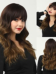 cheap -22 inch long curly wavy dark brown ombre to light brown wigs for women shoulder length hair wigs with air bangs for daily use party costume heat resistant synthetic none lace front wigs