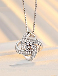cheap -Women's Pendant Necklace Charm Necklace Classic Precious Fashion Zircon Copper Silver Plated Silver 45 cm Necklace Jewelry 1pc For Christmas Party Evening Street Gift Birthday Party