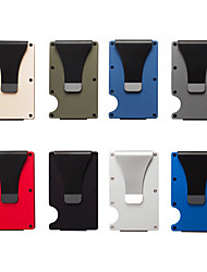 cheap -Slim Minimalist Aluminum Wallet for Men RFID Blocking Credit pocket card holder with Cash Strap