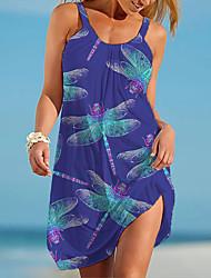 cheap -Women's Strap Dress Short Mini Dress Dragonfly Yellow flower Sea turtle Coconut tree Turtle (blue and white) Little starfish (white background) Big starfish Little starfish Anchor Sleeveless Multi