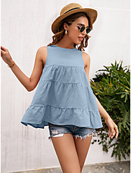 cheap -Women's Tank Top Vest Plain Ruffle Flowing tunic Round Neck Basic Streetwear Tops Blue Blushing Pink Gray