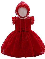 cheap -Baby Girls' Basic Cotton Solid Colored Lace Sleeveless Maxi Dress White Red