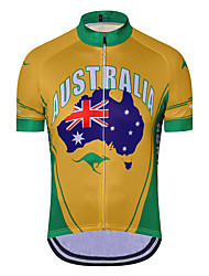 cheap -21Grams Men's Short Sleeve Cycling Jersey Summer Spandex Polyester Green / Yellow Australia Bike Jersey Top Mountain Bike MTB Road Bike Cycling Quick Dry Moisture Wicking Breathable Sports Clothing