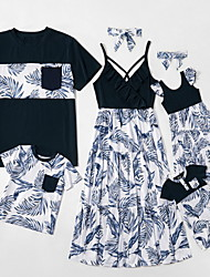 cheap -Family Sets Family Look Cotton Leaf Print Black Sleeveless Daily Matching Outfits / Summer