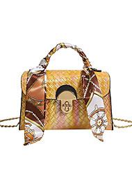 cheap -Women's Bags PU Leather Top Handle Bag Chain Embossed Fashion Daily Date Handbags Baguette Bag Chain Bag Blue Yellow Green