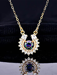 cheap -Women's Pendant Necklace Charm Necklace Classic Precious Fashion Zircon Copper Gold Plated Gold 45 cm Necklace Jewelry 1pc For Christmas Party Evening Street Gift Birthday Party