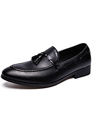 cheap -Men's Boat Shoes Formal Shoes Comfort Loafers Dress Loafers Casual Wedding Daily PU Non-slipping Wear Proof Black Fall Spring / Tassel