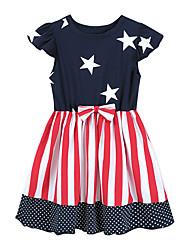 cheap -Kid's Little Girls' Dress National Flag 801B23 (blue) 801B23 (blue star) 801B23(Navy blue bow) Dresses