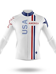 cheap -21Grams Men's Long Sleeve Cycling Jersey Spandex White American / USA Bike Top Mountain Bike MTB Road Bike Cycling Quick Dry Moisture Wicking Sports Clothing Apparel / Stretchy / Athleisure