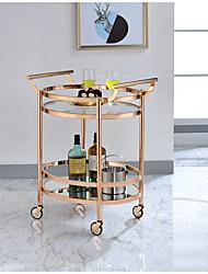 cheap -Rose Gold Clear Glass Serving Cart Furniture