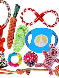 cheap -Teeth Cleaning Toy Dog Chew Toys Cat Chew Toys Flying Disc Dog Kitten 10 PCS Reusable Pet Exercise Pet Training Teething Rope Toy Plush Fabric Gift Pet Toy Pet Play