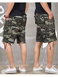 cheap -Men's Classic Style Cargo Comfort Breathable Shorts Tactical Cargo Plus Size Cotton Slim Casual Pants Camouflage Knee Length Pocket Camouflage Gray Camouflage White Camouflage Green / Summer