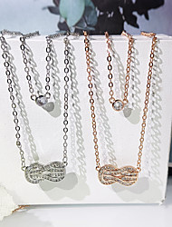 cheap -Women's Clear AAA Cubic Zirconia Pendant Necklace Infinity Infinity Simple Fashion Trendy Casual / Sporty Brass Rose Gold Silver 40 cm Necklace Jewelry 1pc For Street Gift Prom Birthday Party Festival