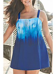 cheap -Women's One Piece Swim Dress Swimsuit Open Back Print Blue Swimwear Camisole Strap Bathing Suits New Casual Vacation