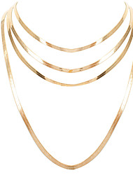 cheap -cold ins style necklace retro simple alloy multilayer golden clavicle chain