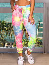 cheap -Women's Plus Size Jogger Chinos Drawstring Tie Dye Sporty Casual Casual Daily Natural Full Length Fall Summer Purple Blushing Pink Rainbow L XL XXL 3XL / Cotton