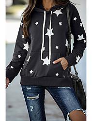 cheap -Women's Hoodie Sweatshirt Stars Print Daily Sports Other Prints Sportswear Streetwear Hoodies Sweatshirts  Loose Purple Black Brown