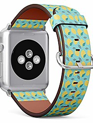 cheap -compatible with apple watch series 6/5/4/3/2/1 (big version 42/44 mm) leather wristband bracelet replacement accessory band + adapters - fruit print lemon spring