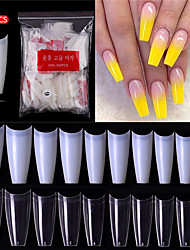 cheap -500Pcs Clear Natural False Acrylic Nail Tips Half Cover French Coffin Fake Nails Tips For Extension Nails UV Gel Manicure