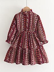 cheap -Kids Little Girls' Dress Flower Animal Print Red 100% Cotton Knee-length Long Sleeve Vintage Dresses Autumn / Fall Spring Slim 2-6 Years