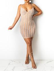 cheap -Women's Sheath Dress Short Mini Dress Black Apricot Sleeveless Yarn Dyed Shing Diamonds Sexy Spring Summer Deep V Sexy Party Club Skinny 2021 S M L XL XXL