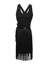 cheap -Latin Dance Dress Tassel Women's Training Performance Sleeveless Natural Crystal Cotton