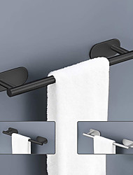 cheap -Wall Mounted Stainless Steel Towel Bar/Bathroom Shelf Matte Black/Brushed Nickel,Adjustable Length Self-adhesive Contemporary Modern Low-carbon Steel Metal Bathroom Decoration1pc