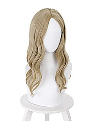 cheap -evil bela dimitrescu cosplay wig brownish yellow medium-length wavy middle part anime party halloween costume wigs women