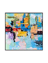 cheap -Oil Painting Handmade Hand Painted Wall Art Square Color Abstract Wall Art Canvas Home Decoration Decor Stretched Frame Ready to Hang