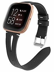 cheap -compatible with fitbit versa 2 band leather for women, hollow breathable sport wristband metal classic buckle clasp bracelet replacement band for fitbit versa 2/versa/versa lite smart watch
