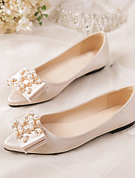 cheap -Women's Flats Flat Heel Pointed Toe Wedding Daily Satin Bowknot Pearl Solid Colored Wine Almond Red