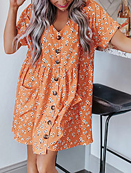 cheap -Women's A Line Dress Short Mini Dress Welcome to shop around! ! ! Focus on cross-border women's clothing, focus on quality! ! European and American cross-border hot models are listed Blue Orange