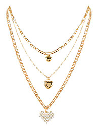 cheap -simple style necklace necklace retro alloy heart-shaped pendant multi-layered necklace