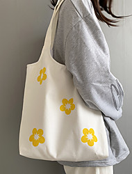 cheap -Canvas Shoulder storage bag back to school Halloween goody bag basic flowers portable grocery shopping cloth book tote   37*36 cm