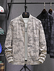 cheap -Men's Jacket Street Daily Fall Spring Regular Coat Stand Collar Regular Fit Windproof Breathable Elegant Casual Jacket Long Sleeve Letter Print Dark Grey Khaki Black