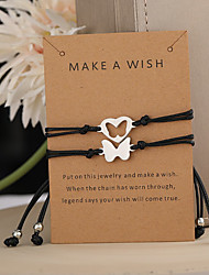 cheap -2pcs Bracelet Braided Butterfly Stylish Simple Vintage European Alloy Bracelet Jewelry Black For Party Evening Gift Date Birthday Festival