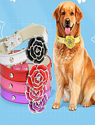 cheap -Dog Cat Pets Collar Portable PU Leather Red Blue Silver 1pc