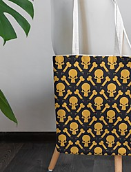 cheap -Canvas Shoulder storage bag back to school Halloween goody bag holloween lovely skull portable grocery shopping cloth book tote