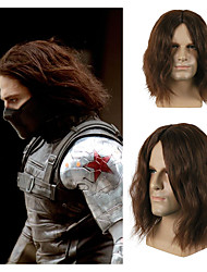 cheap -halloweencostumes Captain America Wig New Captain America Civil War Winter Soldier Bucky Barnes Cosplay Wig Women Men Dark Brown Thick Fluffy Hair Wigs Cosplay Props