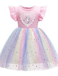 cheap -Kids Little Girls' Dress Unicorn Tulle Dress Party Wedding Ruffle Mesh Blue Blushing Pink Knee-length Sleeveless Princess Sweet Dresses Summer Regular Fit 2-8 Years