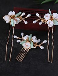 cheap -Headwear Full Set of Hairpins Hairpins Antique Accessories Classical Dish Hair Handmade Glazed Flower Hair Accessories Performance Accessories