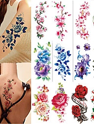cheap -12 Pcs  Sheets Flowers Temporary Tattoos Stickers Roses Butterflies and Multi-Colored Mixed Style Body Art Temporary Tattoos for Women Girls or Kids