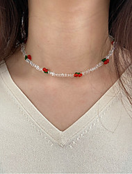 cheap -Women's Girls' Choker Necklace Beaded Necklace Handmade Cherry Simple Fashion European Sweet Imitation Pearl Rainbow 40-50 cm Necklace Jewelry 1pc For Party Evening Street Birthday Party Beach
