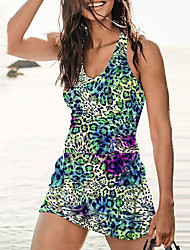 cheap -Women's One Piece Swim Dress Swimsuit Print Leopard Green Swimwear Plunge Bathing Suits New Casual Vacation