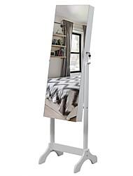 cheap -Full Mirror Wooden Floor Standing 4-Layer Shelf With Inner Mirror Jewelry Storage Adjustable Mirror Cabinet - White