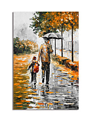 cheap -Oil Painting Handmade Hand Painted Wall Art Impression Landscape Going to School Home Decoration Decor Stretched Frame Ready to Hang