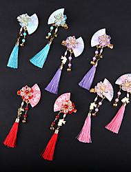 cheap -4 Pairs/set Headdress Antique Hair Ornament Tassel Flower Long Bell Girl Pair Clip Accessories Source Factory Children's Hairpin