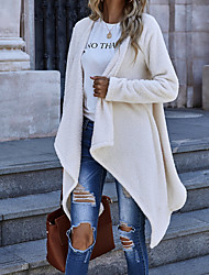 cheap -Women's Coat Causal Daily Holiday Fall Winter Long Coat Regular Fit Warm Basic Casual Jacket Long Sleeve Solid Color Classic Style Cream color