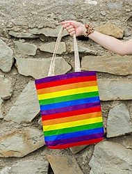 cheap -Canvas Shoulder storage bag back to school Halloween goody bag colorful rainbow  portable grocery shopping cloth book tote